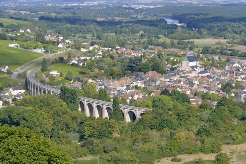 Aerial view of Saint-Satur. And its viaduct seen from town Sancerre. Saint-Satur is a commune in the Cher department in central France. It is a medieval town stock image