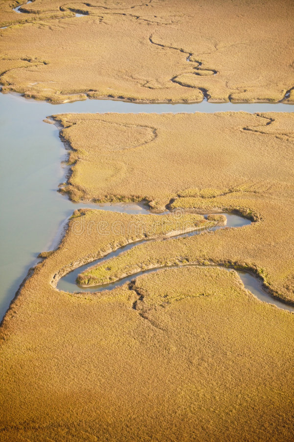 Aerial view of salt marsh stock photos