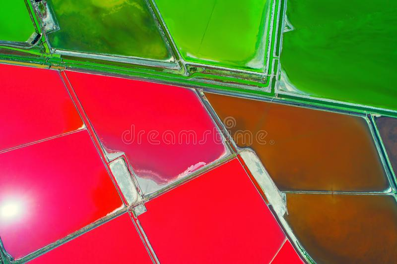 Aerial view of salt pans near Bourgas, Bulgaria. Natural textured background. Aerial view of salt pans near Burgas,Bulgaria royalty free stock photography