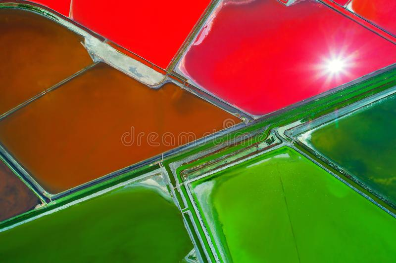Aerial view of salt pans near Bourgas, Bulgaria. Natural textured background. Aerial view of salt pans near Burgas,Bulgaria royalty free stock image