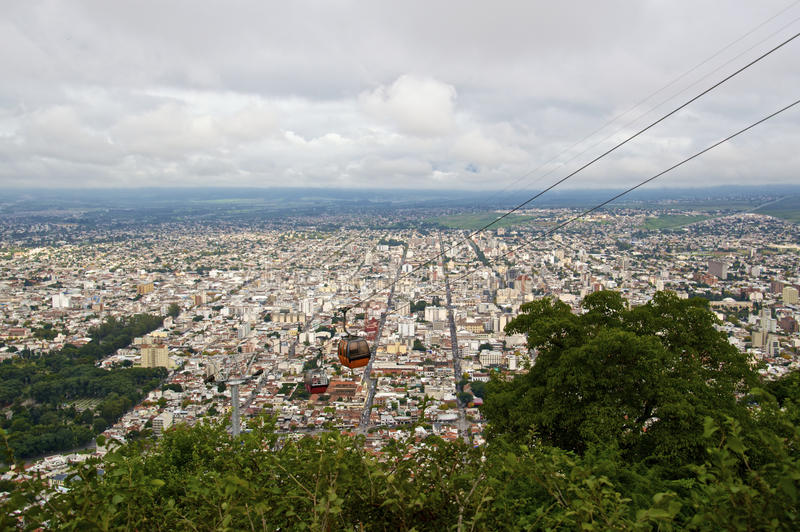 Aerial view of Salta with cable cars. View from hilltop of Salta, Argentina, South America showing cable cars and city grid pattern royalty free stock photography