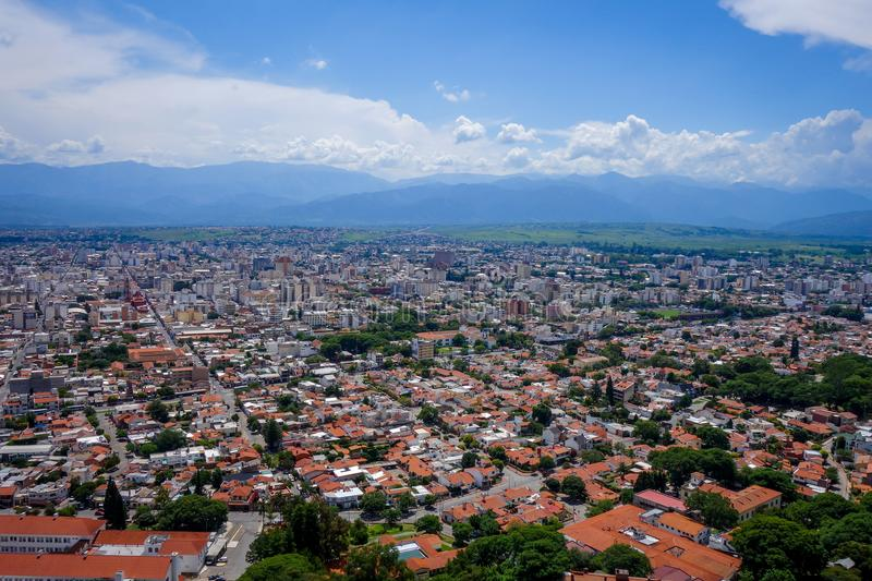 Salta, Argentina, aerial view. Aerial view from Salta city and moutains. Argentina royalty free stock image