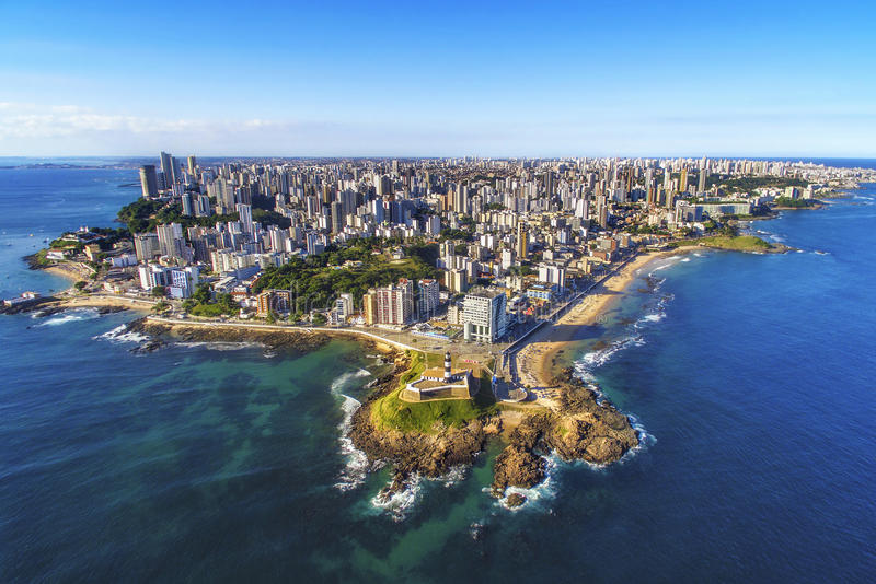 Aerial View of Salvador da Bahia, Brazil. Aerial view of Salvador da Bahia cityscape, northeastern Brazil stock photos