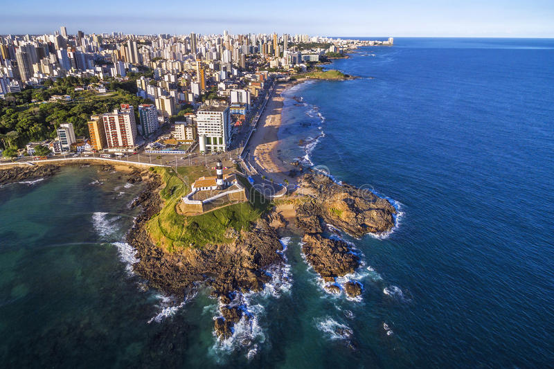 Aerial View of Salvador da Bahia, Brazil. Aerial view of Farol da Barra and Salvador da Bahia cityscape in Bahia, Brazil stock photos