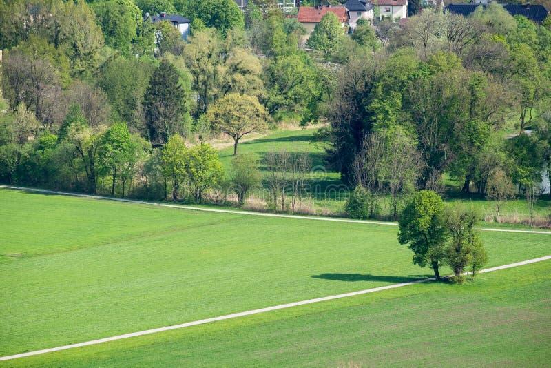 Aerial View Salzburg city background mountain royalty free stock photo