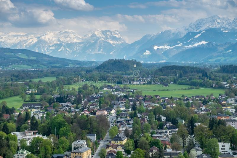 Aerial View Salzburg city background mountain stock photo