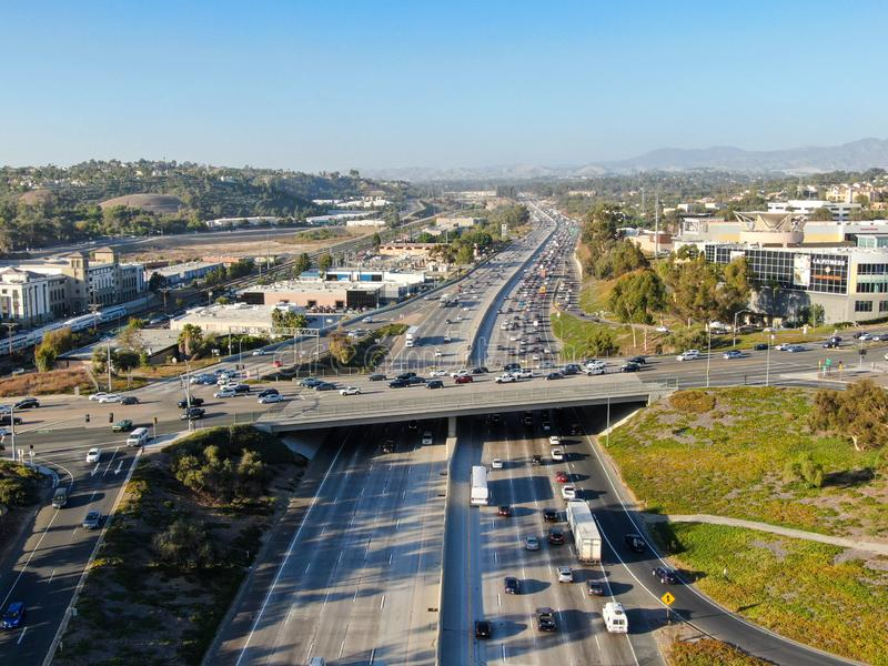 Aerial view of the San Diego freeway. Southern California freeways, USA stock image