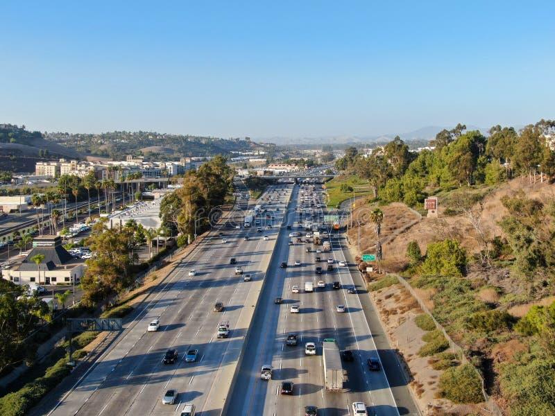 Aerial view of the San Diego freeway. Southern California freeways, USA stock photo