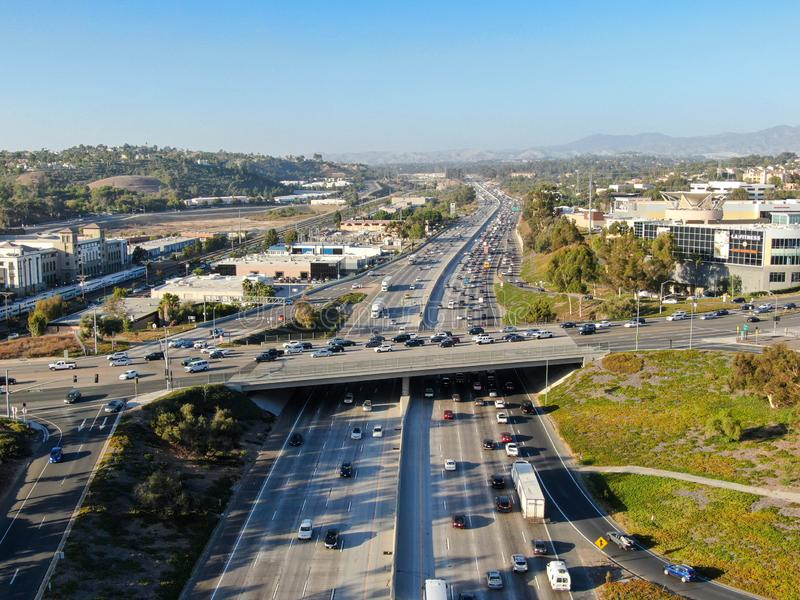 Aerial view of the San Diego freeway. Southern California freeways, USA stock images
