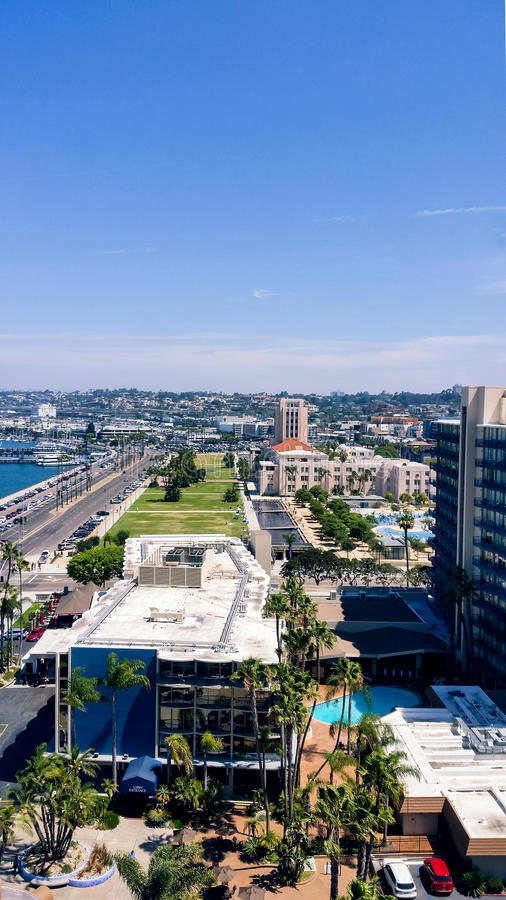 Aerial view of San Diego harbor and waterfront park. Looking down on Harbor Boulevard in San Diego, California, at the newer Waterfront Park and harbor and royalty free stock photography