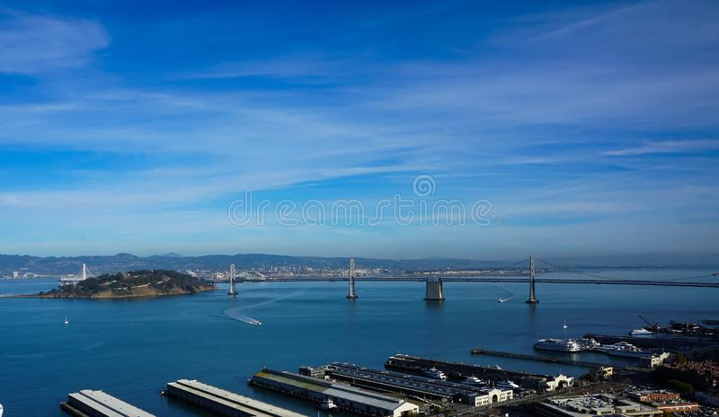 An aerial view of San Francisco bay and port stock images