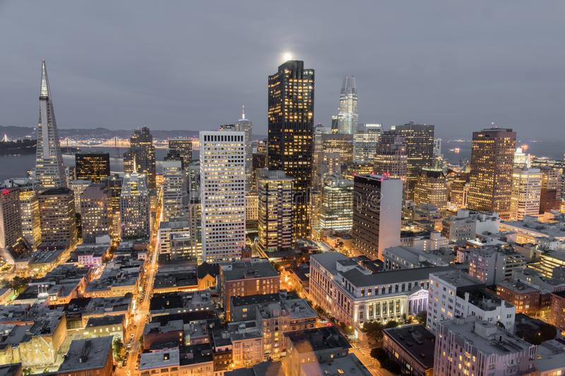 Moonshine over San Francisco Downtown. stock photography