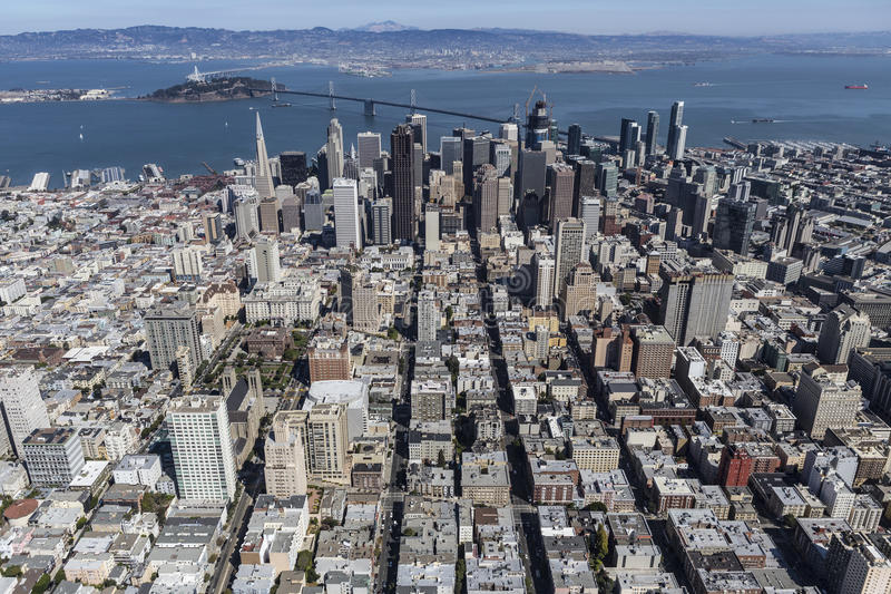 Aerial View of San Francisco and Oakland California. Aerial view of San Francisco and Oakland, California royalty free stock photography
