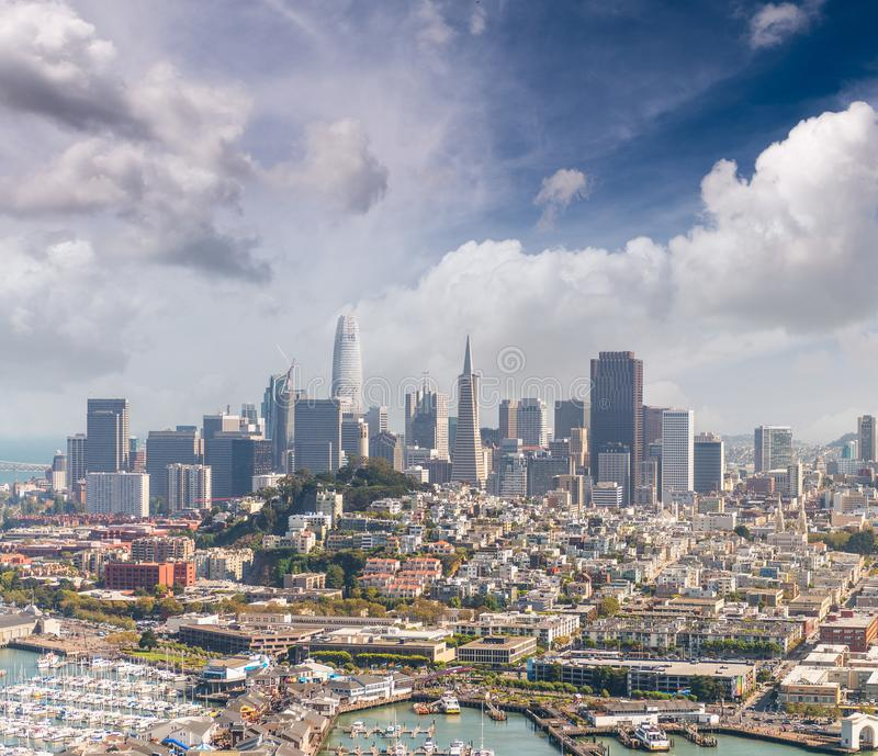 Aerial view of San Francisco skyline and Pier 39 on a beautiful stock photo