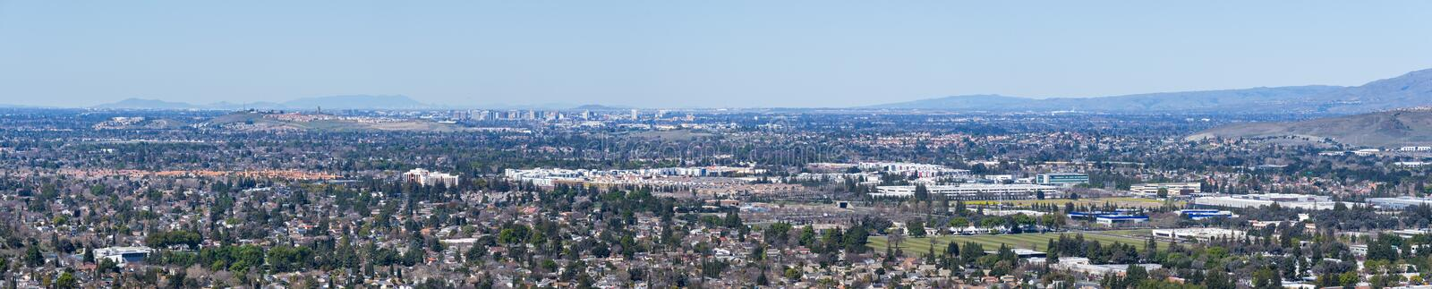 Aerial view of San Jose. Diablo mountain range in the background, south San Francisco bay area, California royalty free stock photo