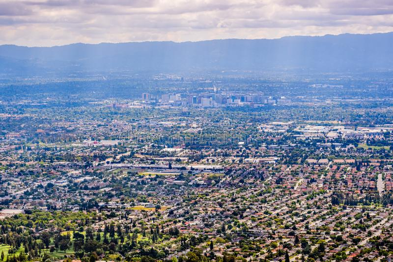 Aerial view of San Jose, the heart of Silicon Valley; south San Francisco bay area, California stock photo