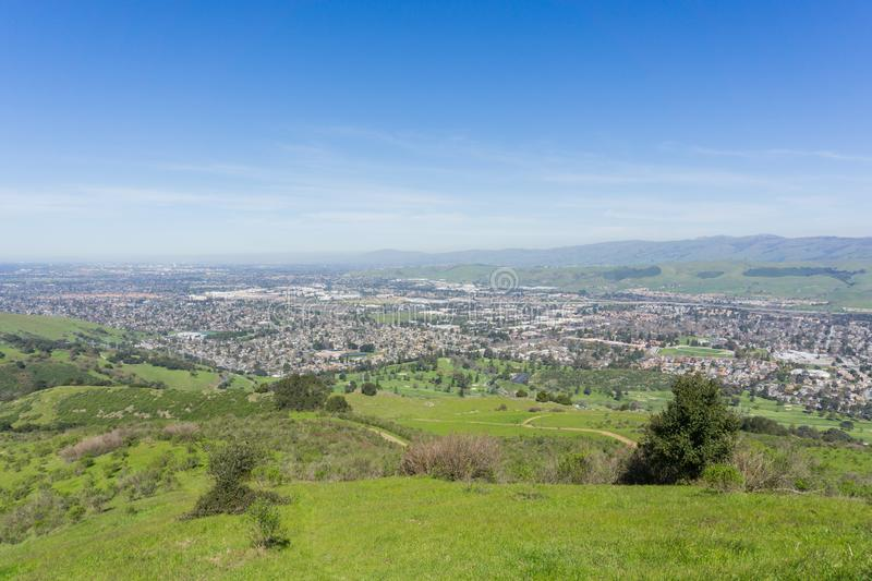 Aerial view of San Jose from Santa Teresa county park on a clear day, south San Francisco bay, California stock photography