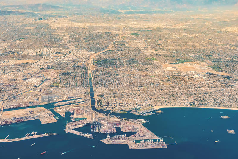Aerial view of San Pedro, Terminal Island and Long Beach, CA royalty free stock images