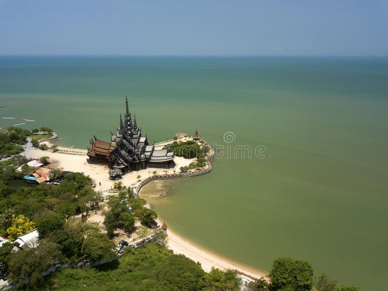 Aerial view Sanctuary of truth is gigantic wooden construction in Pattaya, Thailand. stock images