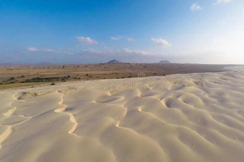 Aerial view on sand dunes in Chaves beach Praia de Chaves in Bo. Avista Cape Verde - Cabo Verde royalty free stock photos