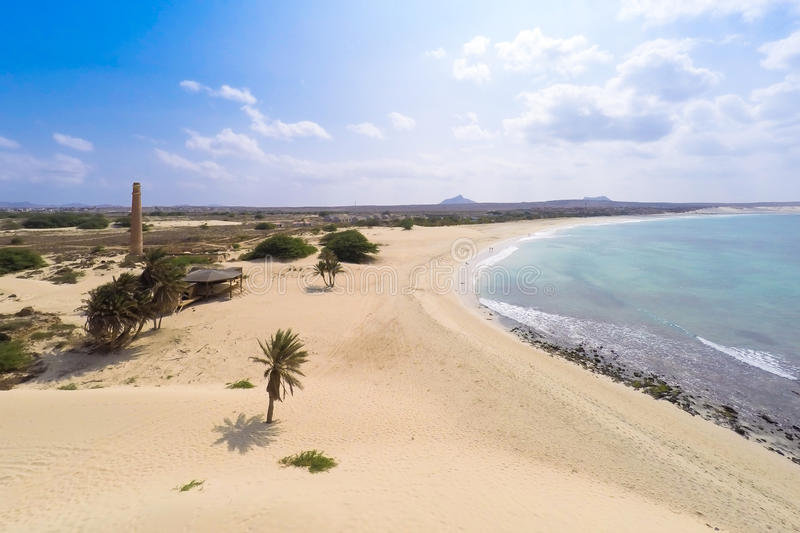 Aerial view on sand dunes in Chaves beach Praia de Chaves in Bo. Avista Cape Verde - Cabo Verde royalty free stock photo