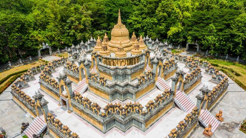 Aerial view sandstone pagoda in Wat Pa Kung Temple, Wat Prachakom Wanaram, Roi Et, Thailand.  royalty free stock photography