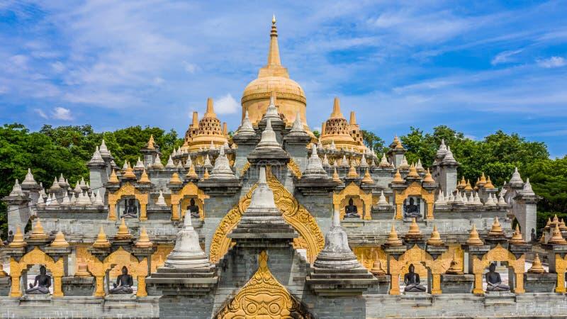 Aerial view sandstone pagoda in Wat Pa Kung Temple, Wat Prachakom Wanaram, Roi Et, Thailand.  stock photography