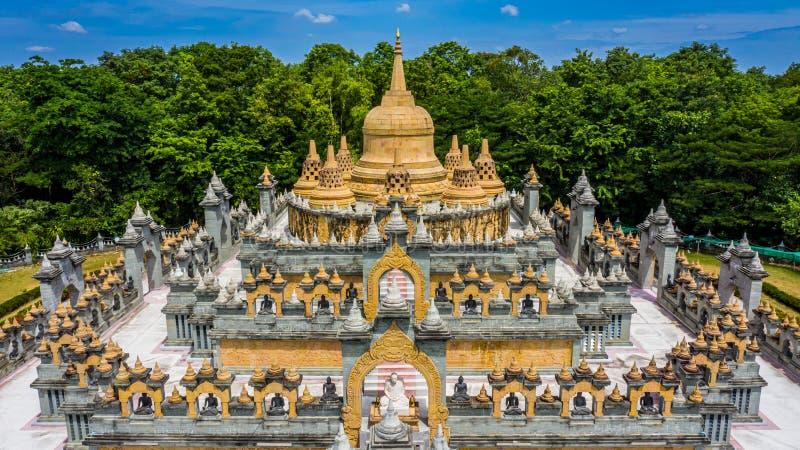 Aerial view sandstone pagoda in Wat Pa Kung Temple, Wat Prachakom Wanaram, Roi Et, Thailand.  stock image