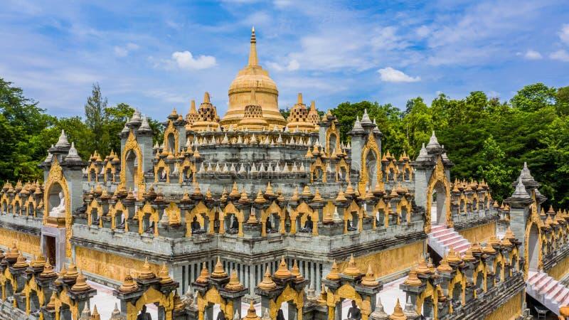 Aerial view sandstone pagoda in Wat Pa Kung Temple, Wat Prachakom Wanaram, Roi Et, Thailand.  royalty free stock images