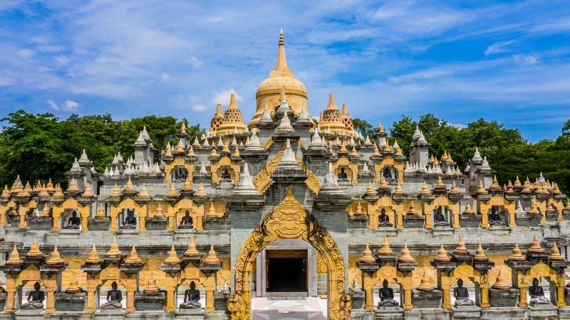 Aerial view sandstone pagoda in Wat Pa Kung Temple, Wat Prachakom Wanaram, Roi Et, Thailand.  royalty free stock photos
