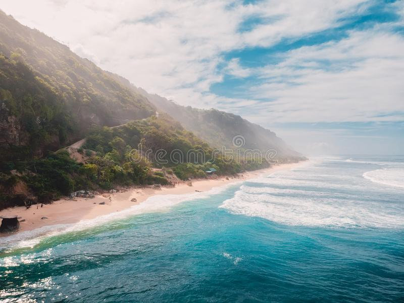 Aerial view of sandy beach and beautiful ocean. Drone shot. Aerial view of sandy beach and beautiful ocean stock image