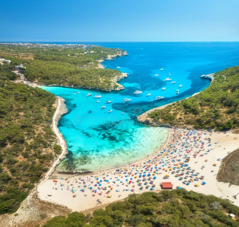 Sandy Beach: Aerial View Of Sandy Beach, Blue Sea, People And Yachts