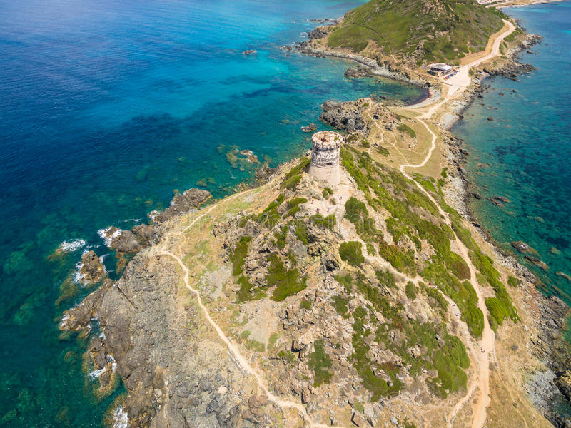 Aerial view of Sanguinaires bloodthirsty Islands in Corsica, France stock photography