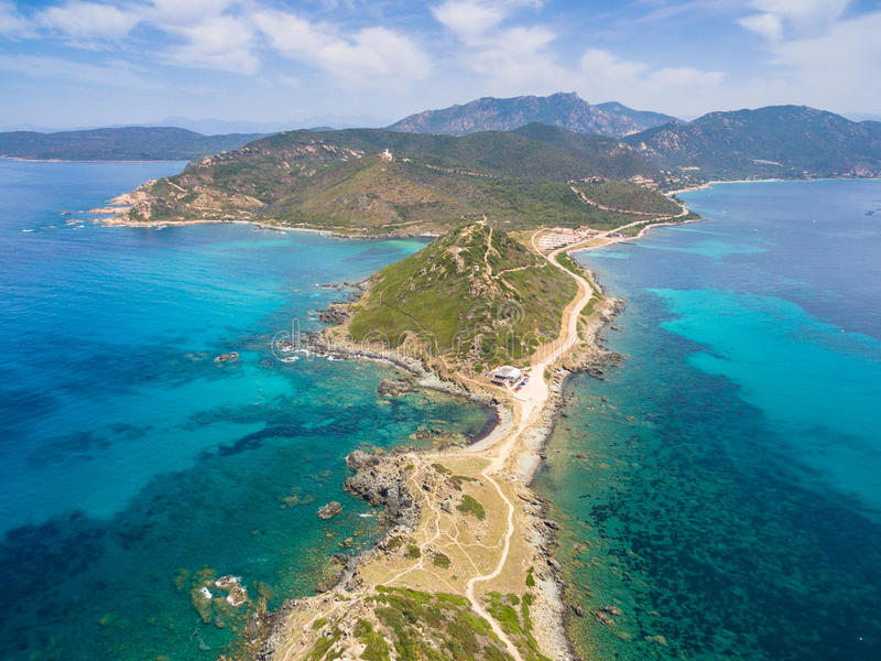 Aerial view of Sanguinaires bloodthirsty Islands in Corsica, France royalty free stock photos