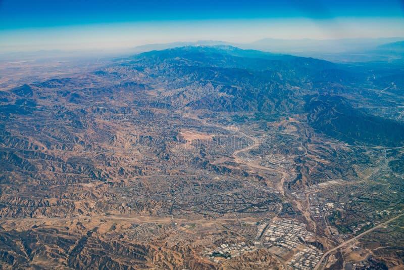 Aerial view of Santa Clarita area. Los Angeles County, California royalty free stock photos