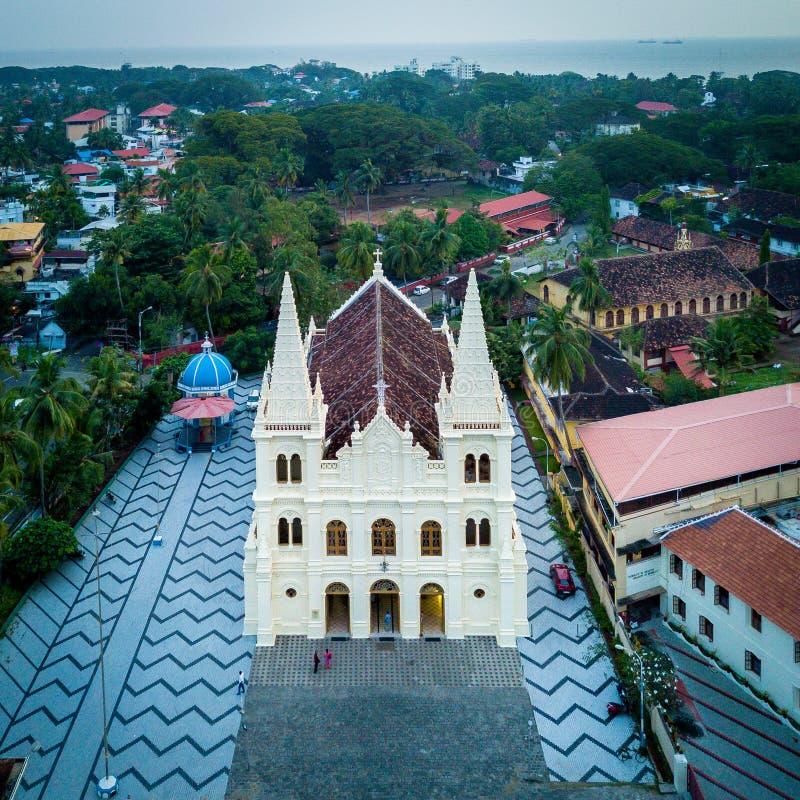 Aerial View of Santa Cruz Cathedral Basilica in Kochi India. Drone View of Santa Cruz Cathedral Basilica in Kochi India royalty free stock images