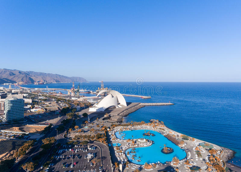 Aerial view of Santa Cruz de Tenerife skyline along the coast, C. Anary Islands, Spain stock photos