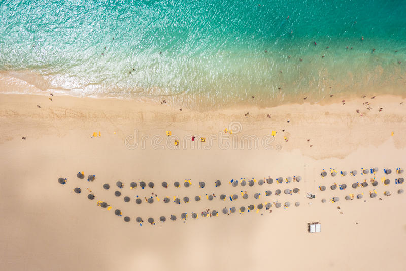 Aerial view of Santa Maria beach parasol and deck chair in Sal I. Sland Cape Verde - Cabo Verde royalty free stock photography