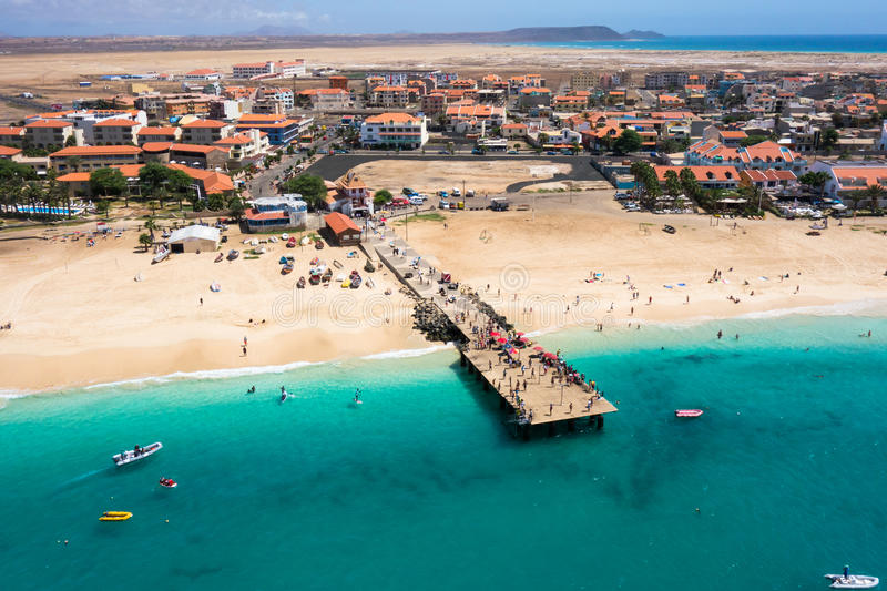 Aerial view of Santa Maria beach pontoon in Sal Island Cape Verde - Cabo Verde royalty free stock photography
