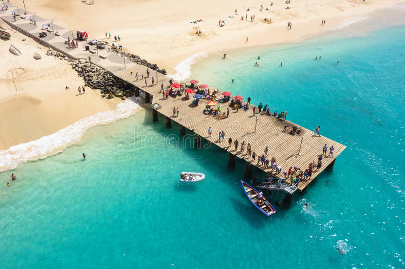 Aerial view of Santa Maria beach in Sal Island Cape Verde - Cabo Verde royalty free stock image