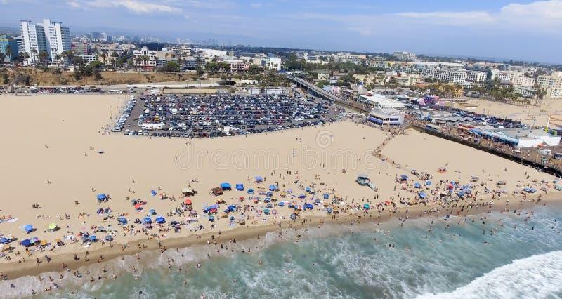 Aerial view of Santa Monica Pier, California.  royalty free stock images