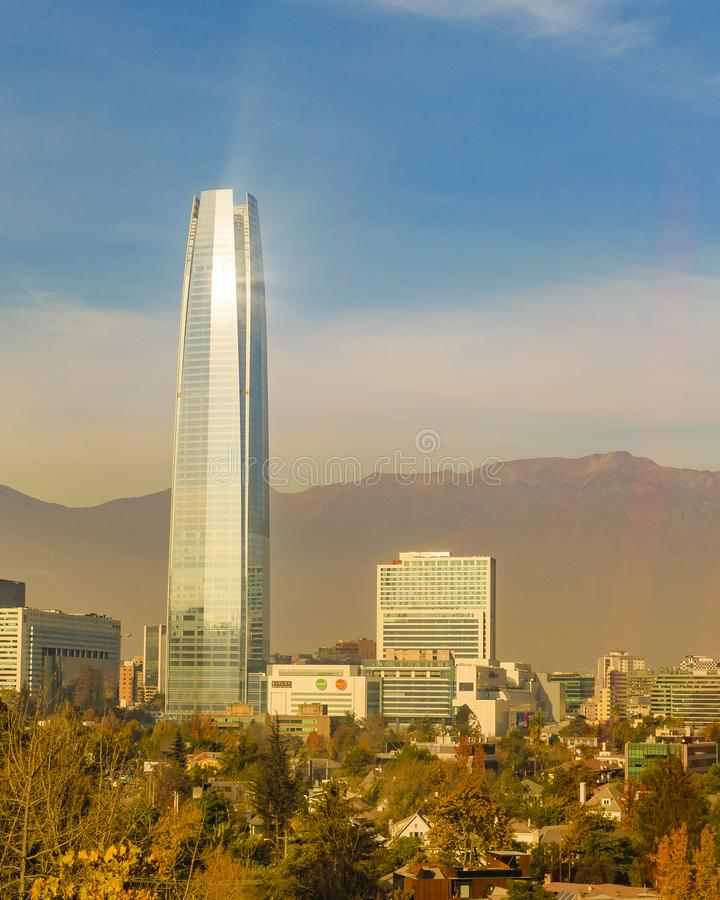 Santiago de Chile Aerial View from San Cristobal Hill royalty free stock photo