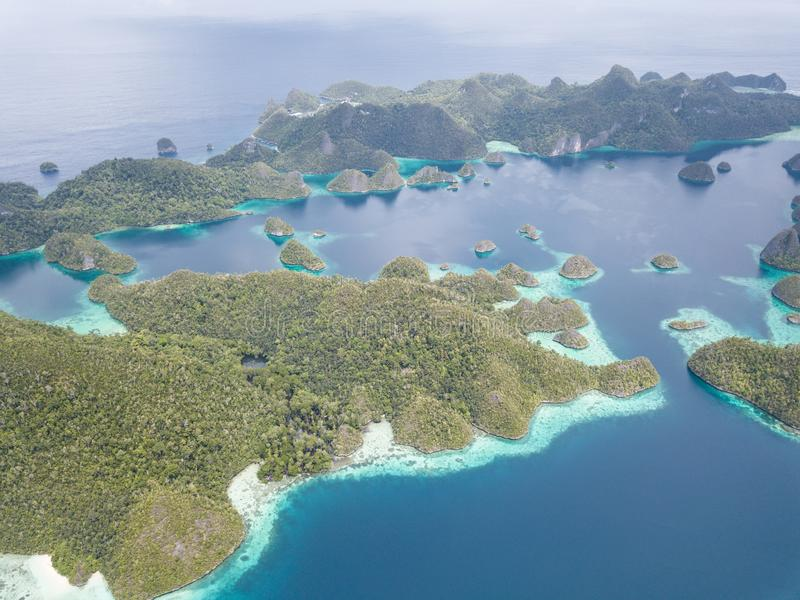Aerial View of Scenic Tropical Islands in Wayag, Raja Ampat royalty free stock photography