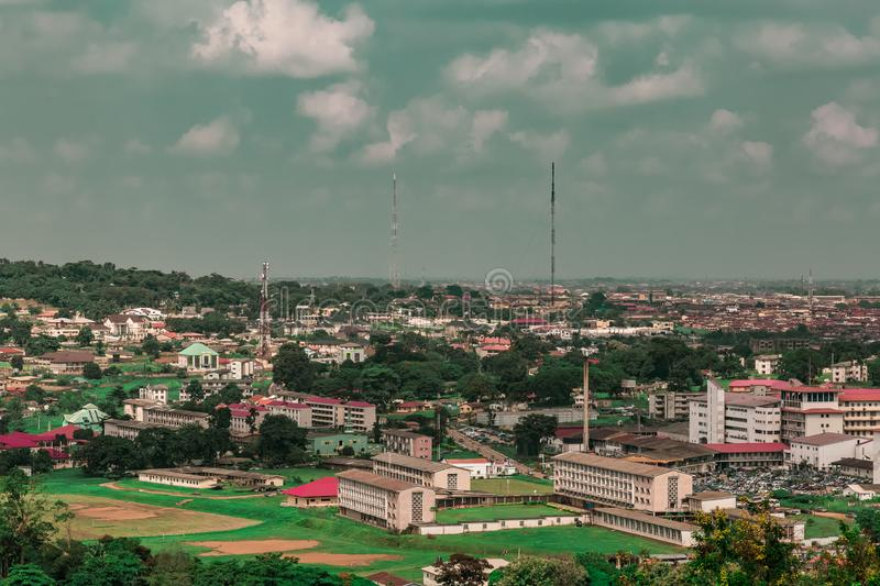 Aerial view of the school of nursing UCH Ibadan Nigeria. As seen from the Premier Hotel Mokola Hills Ibadan Nigeria West Africa. Alexander Brown Hall for royalty free stock images