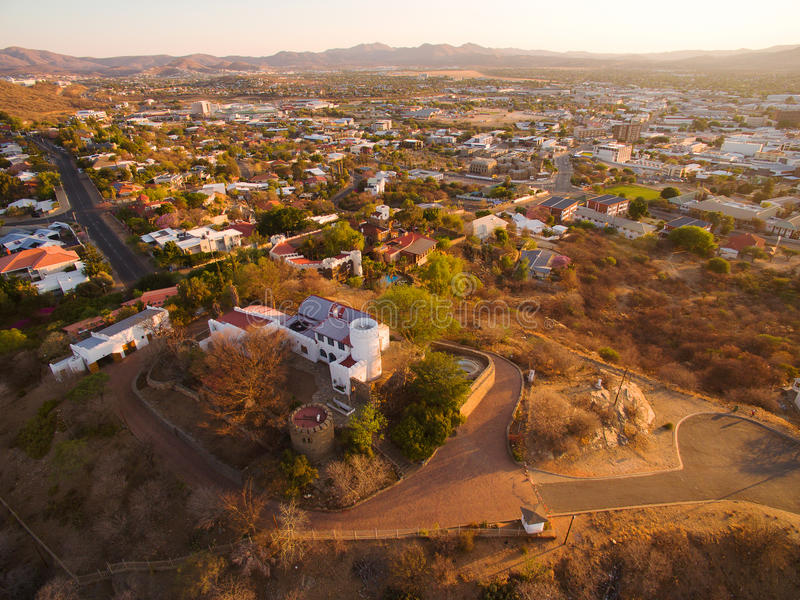 Aerial view of Schwerinsburg castle in Windhoek. Namibia taken by drone royalty free stock photos