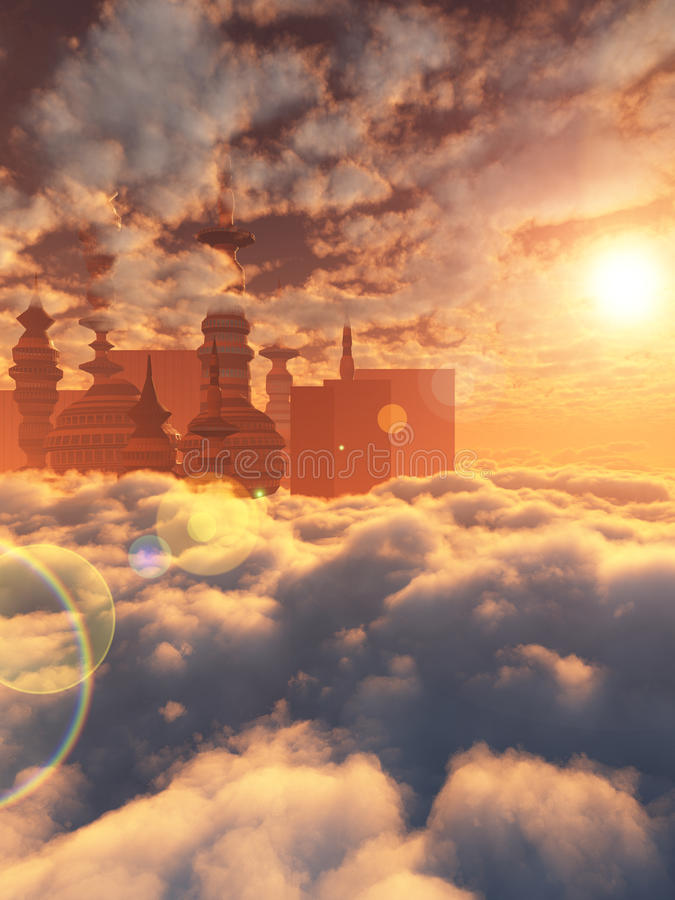 Aerial view of Sci Fi City with clouds. And sun stock illustration