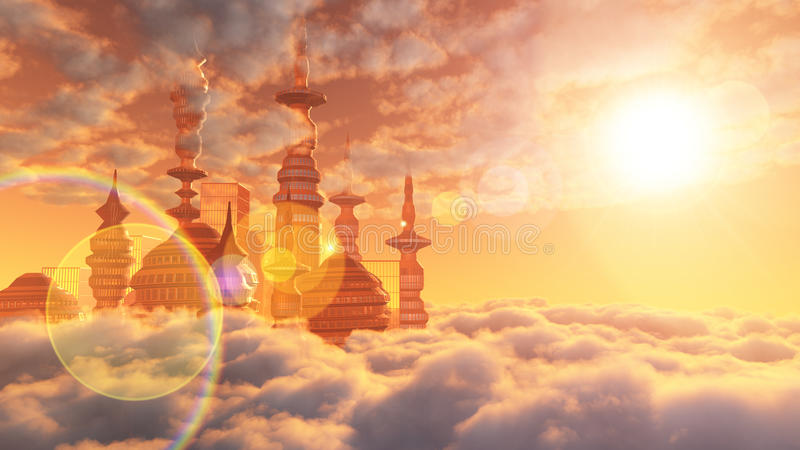 Download Aerial View Of Sci Fi City With Clouds Stock Illustration - Image: 33962986