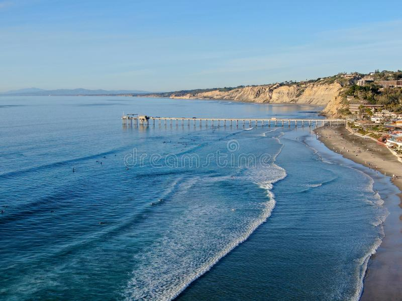Aerial view of the scripps pier institute of oceanography, La Jolla, San Diego, California, USA. Research pier used to study ocean conditions and marine royalty free stock photography