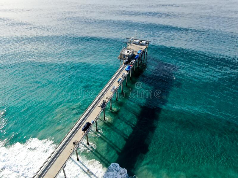 Aerial view of the scripps pier institute of oceanography, La Jolla, San Diego, California, USA. Research pier used to study ocean conditions and marine stock images