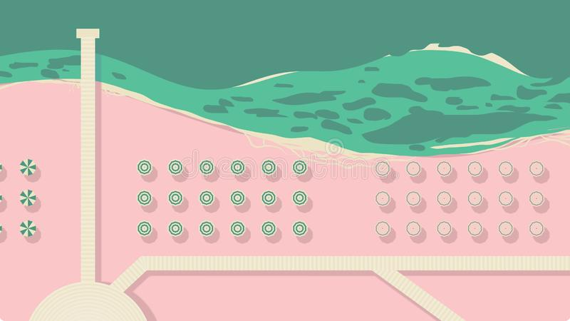 Aerial view of sea beach with beach umbrellas and walking path. Pink and green tones stock illustration